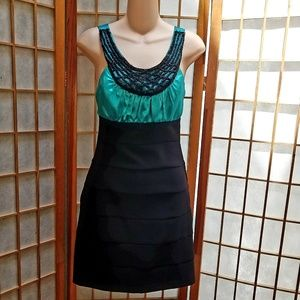 Turquoise and Black party dress  Sz 5